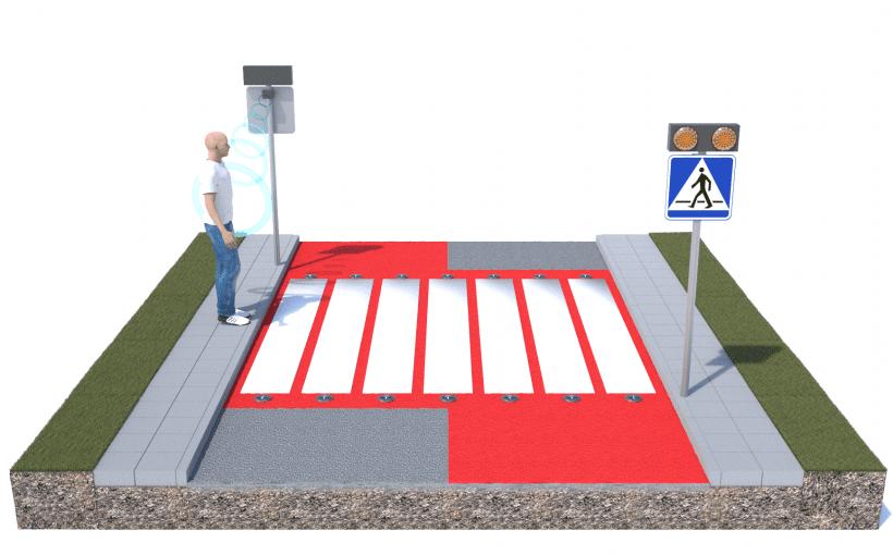Mit LED und Bewegungsmelder ausgestatteter Fußgängerüberweg